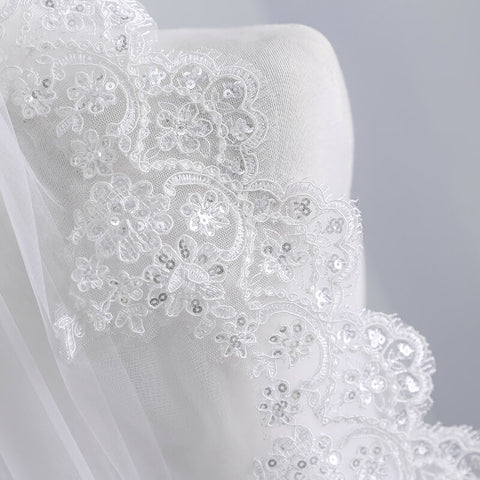 1.5 M One Layer Lace Veil in Ivory or White - FabFunBride