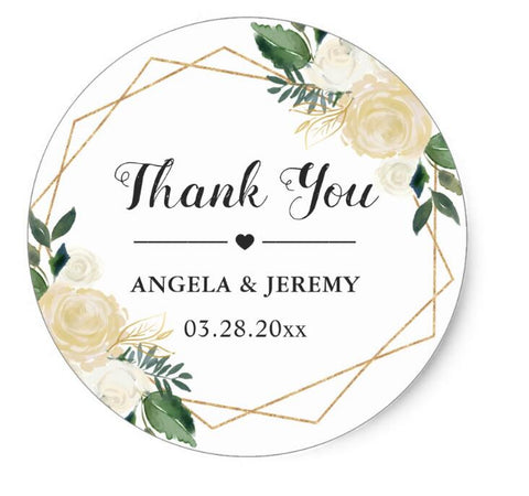 Greenery Floral Thank You 500pcs - FabFunBride