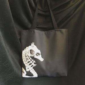 Seahorse skeleton cloth reusable tote bag