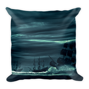 Blues and black pirate galleon ships on square throw pillow