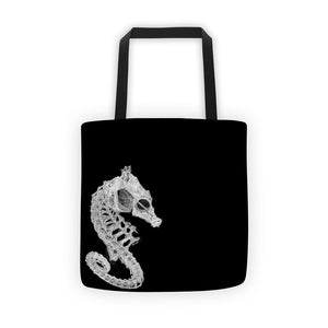 Seahorse skeleton fabric tote beach bag