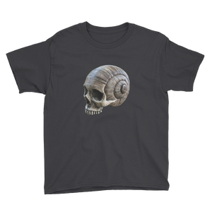 Front view short sleeve kid's spiral skull print shirt