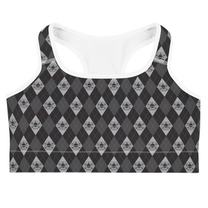 Front view black and grey argyle skull print sports bra with white trim