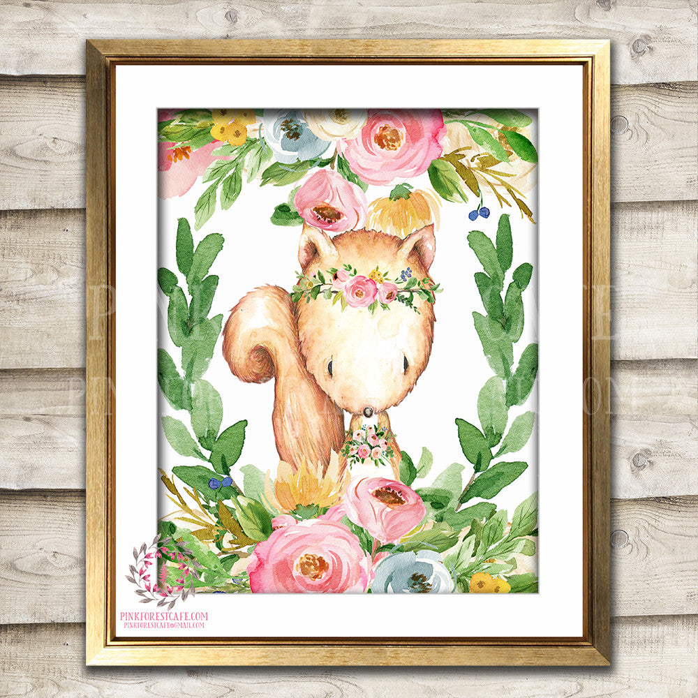 Boho Bohemian Squirrel Woodland Watercolor Printable Wall Art Print Garden Floral Nursery Baby Girl Room Decor