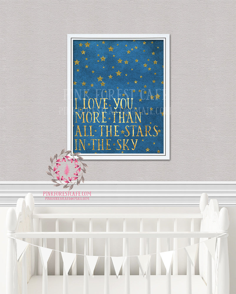 I Love You More Than The Stars In The Sky Wall Art Print Chalkboard Woodland Nursery Baby Kids Room Printable Decor