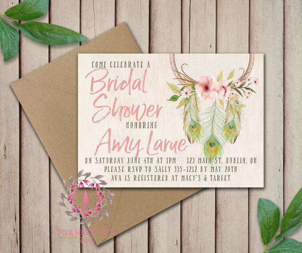 Dreamcatcher Bride Bridal Shower Birthday Party Wedding Baby Shower Invitation Save The Date Announcement Invite Feathers Tribal Woodland Watercolor Floral Rustic Printable Art Stationery Card