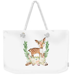Boho Woodland Blush Dear With Feathers - Weekender Tote Bag