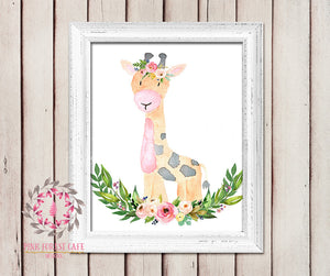 Giraffe Boho Garden ZOO Safari Nursery Kids Baby Girl Room Playroom Print Gift Printable Wall Poster Sign Art Home Decor