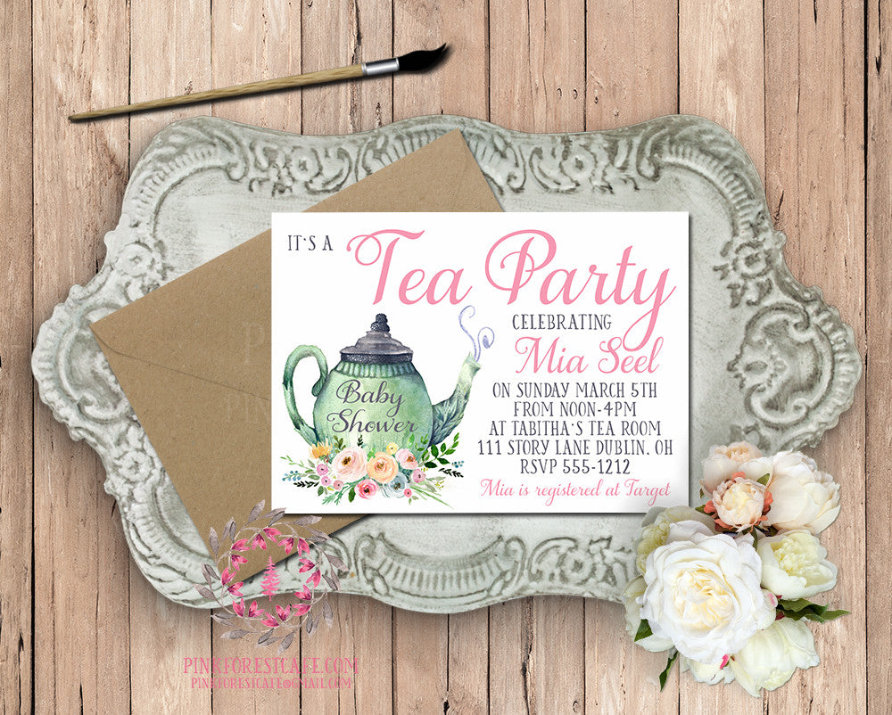 Baby Bridal Shower Tea Party Pot Girls Birthday Party Printable Invitation Invite