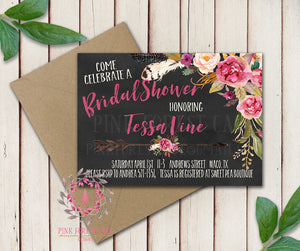 Baby Bridal Shower Chalkboard Birthday Party Wedding Invitation Save The Date Announcement Invite Feathers Boho Bohemian Chic Tribal Woodland Watercolor Floral Rustic Printable Art Stationery Card