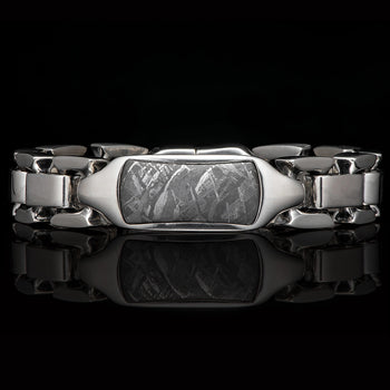 William Henry IDENTITY METEORITE Heavy Duty Silver Mens Bracelet