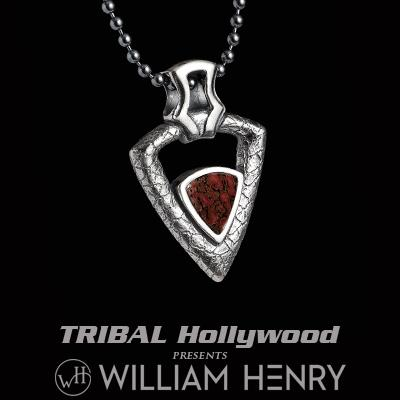 William Henry FERVOR DINO BONE Arrowhead Pendant Mens Necklace in Silver