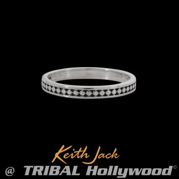 RIVETED BAND Extra Thin Width Sterling Silver Mens Ring by Keith Jack