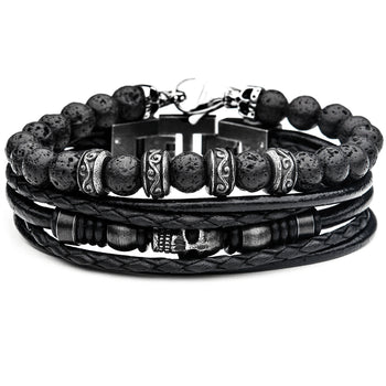 Skull Stack Bracelet with Black Leather and Beads