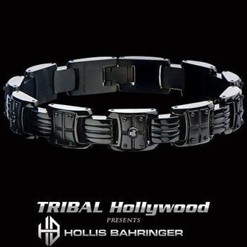 Hollis Bahringer Black Armor Mens Black Steel Bracelet