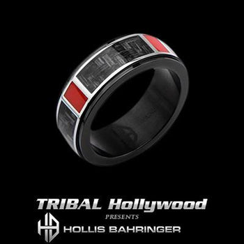 Hollis Bahringer Mens Carbon Fiber Ring in Black Steel