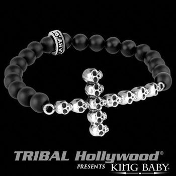 Skulls Cross Bead Mens Bracelet Silver and Black Onyx