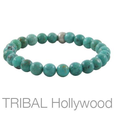 Mens Bead Bracelet ION TURQUOISE Thin Width | Tribal Hollywood