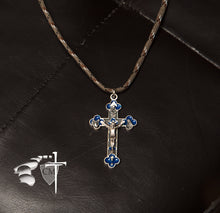 Blue Enameled Eucharist Trinity Crucifix - Catholic Milestones