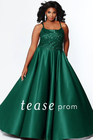 TE1902 formal elegant prom gown with sequin bodice, spaghetti straps, strap detailed back and pockets