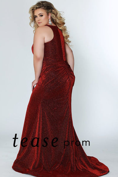 TE1911 shimmer plus size fitted mermaid prom or formal down with bra-friendly straps, deep v-neckline; fully covered back, small sweep train and rouched booty in black, red, green or royal