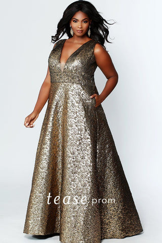 TE1918 elegant bronze brocade jacquard fabric prom or formal gown with bra-friendly straps, pockets and a-line skirt