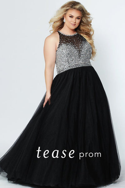 TE1938 Caribbean blue or black heavily beaded ball gown with mesh net neckline and silver beaded bodice; full tulle skirt