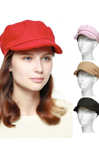 (3PCS) Side Two Button Solid Cabby Hat