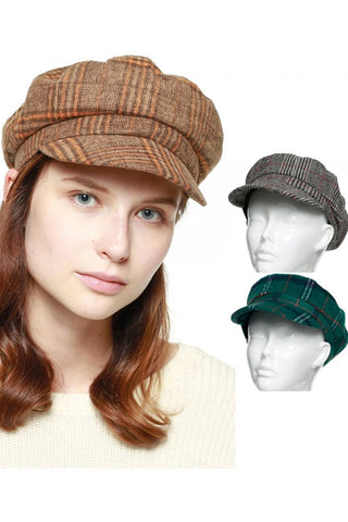 (3PCS) Glen Plaid Cabby Hat