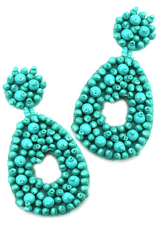 Bubble Teardrop Loop Drop Post Earrings
