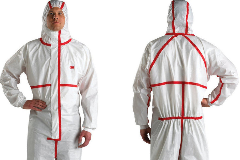 3M 4565 Coverall White with Red Stripe