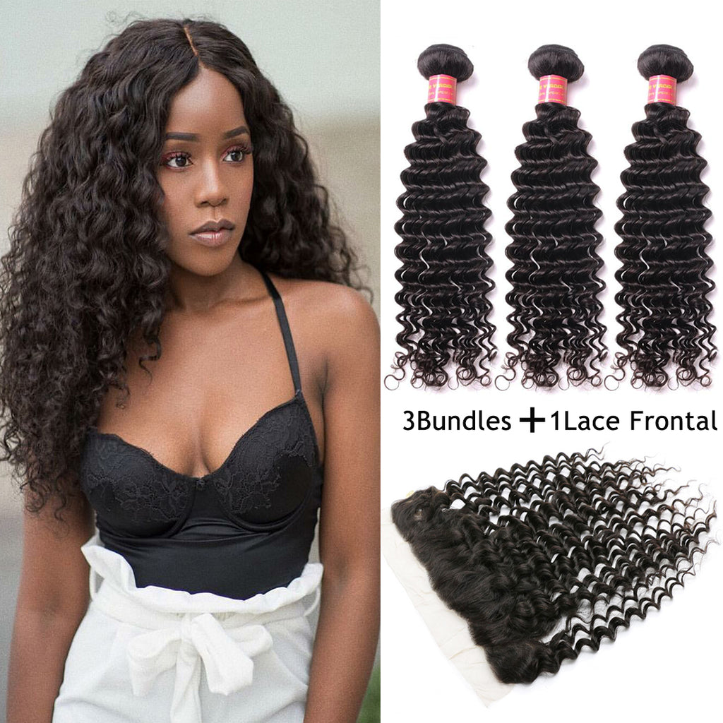 Donmily Brazilian Virgin Deep Wave Curly Hair 3 Bundles with 13*4 Lace Frontal Closure