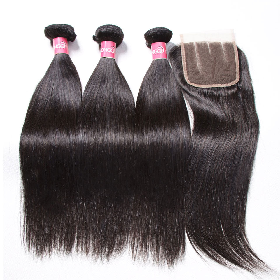Donmily 3 Bundles Peruvian Straight Hair with 4*4 Lace Closure