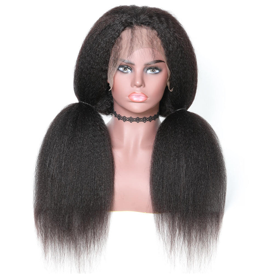 360 Lace Wig Kinky Straight 150% & 180% Density Black Color, 100% Virgin Human Hair Wig 360 Lace 10-24 Inch-Donmily Hair