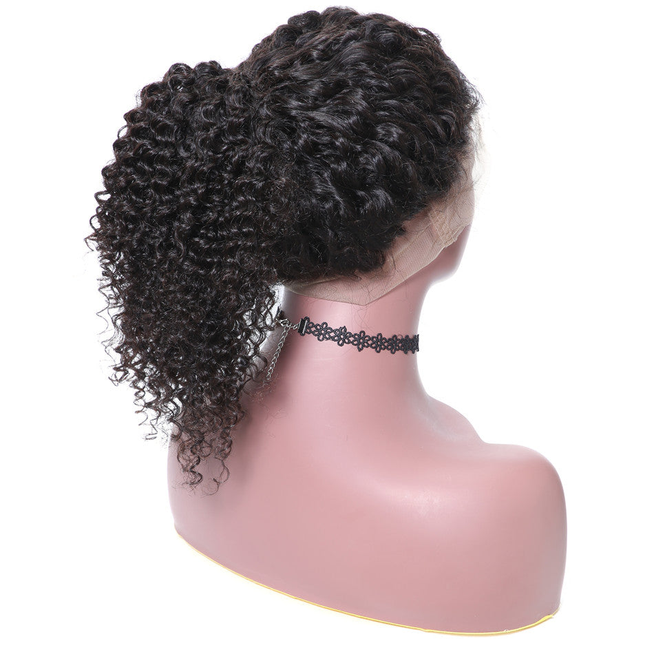 9A 360 Lace Wigs Jerry Curly Human Hair Wigs 150% & 180% Density, Can Be Tied Ponytail