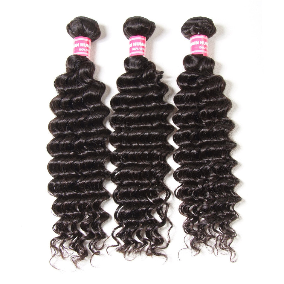 Donmily 9A Unprocessed Virgin Peruvian Deep Wave Hair 3 Bundles Human Hair Weave