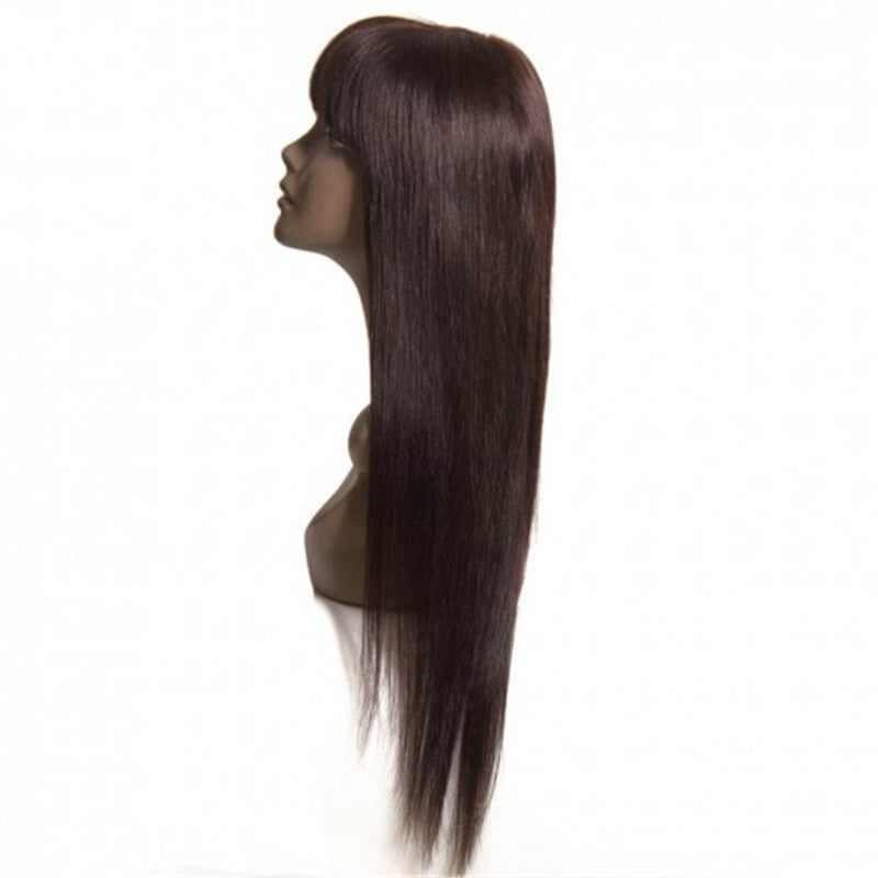 Straight Human Hair Wig With Bangs For Sale-Donmily