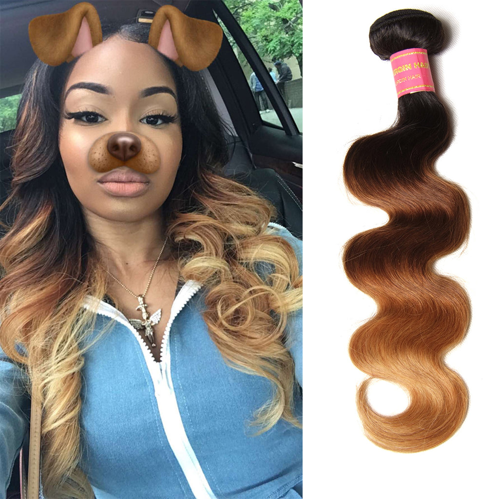 "Donmily Ombre Body Wave Hair Weave 1 Bundle, T1B/4/27 Color 16""-26"", Peruvian/Malaysian/Brazilian Hair"