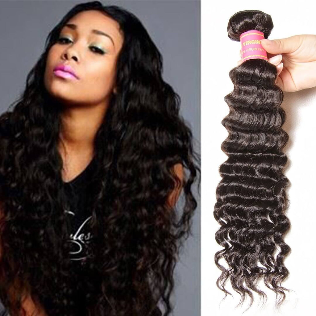 Donmily 1 Piece Deep Wave Virgin Hair Weave Cheap Deep Wave Hair Bundle, Brazilian/Peruvian/Malaysia/Indian Hair