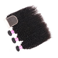 Donmily 3 Bundles Brazilian Kinky Curly Human Hair Weave With 4*4 Lace Closure Free Part