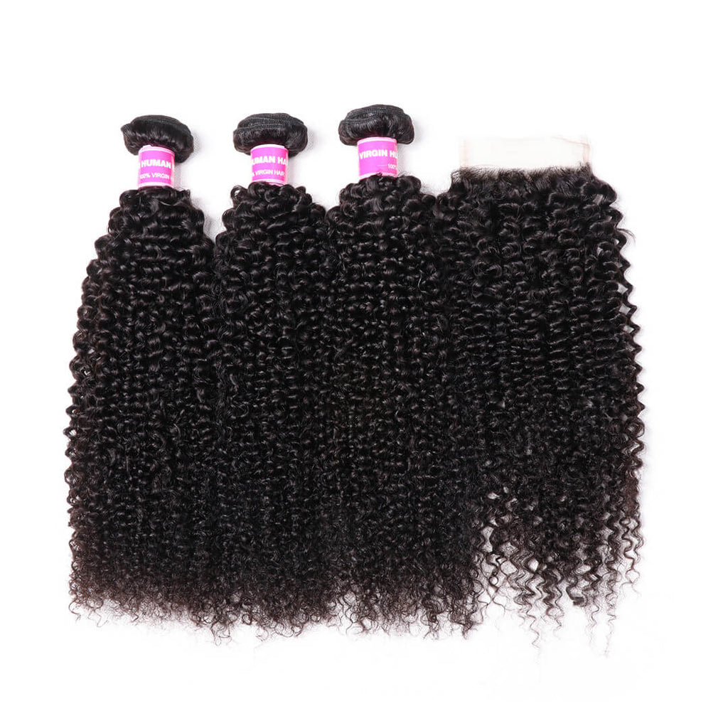 Donmily 3 Bundles Peruvian Kinky Curly Human Hair Weave With 4*4 Lace Closure Free Part
