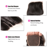 Donmily 3 Bundle Deals Virgin Body Wave Brazilian Hair Weave With Lace Closure(Free Part)