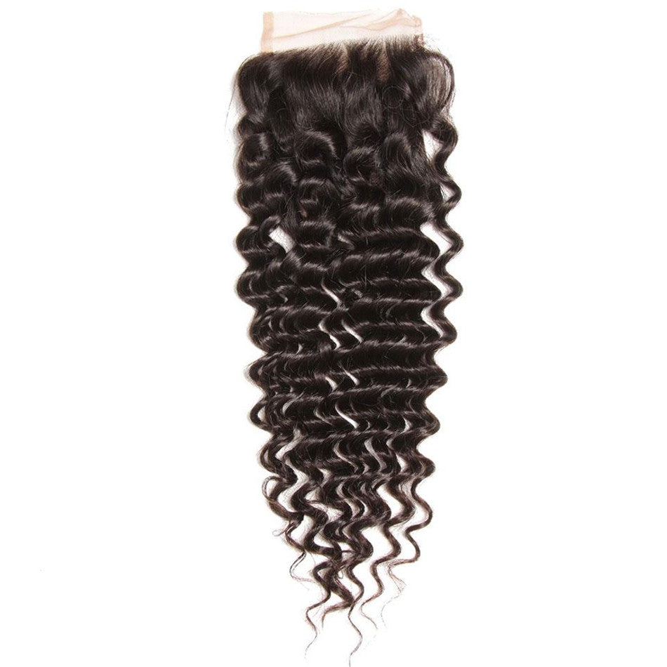 Donmily 1 Piece Of Deep Wave Lace Closure 4*4 Free Part On Sale