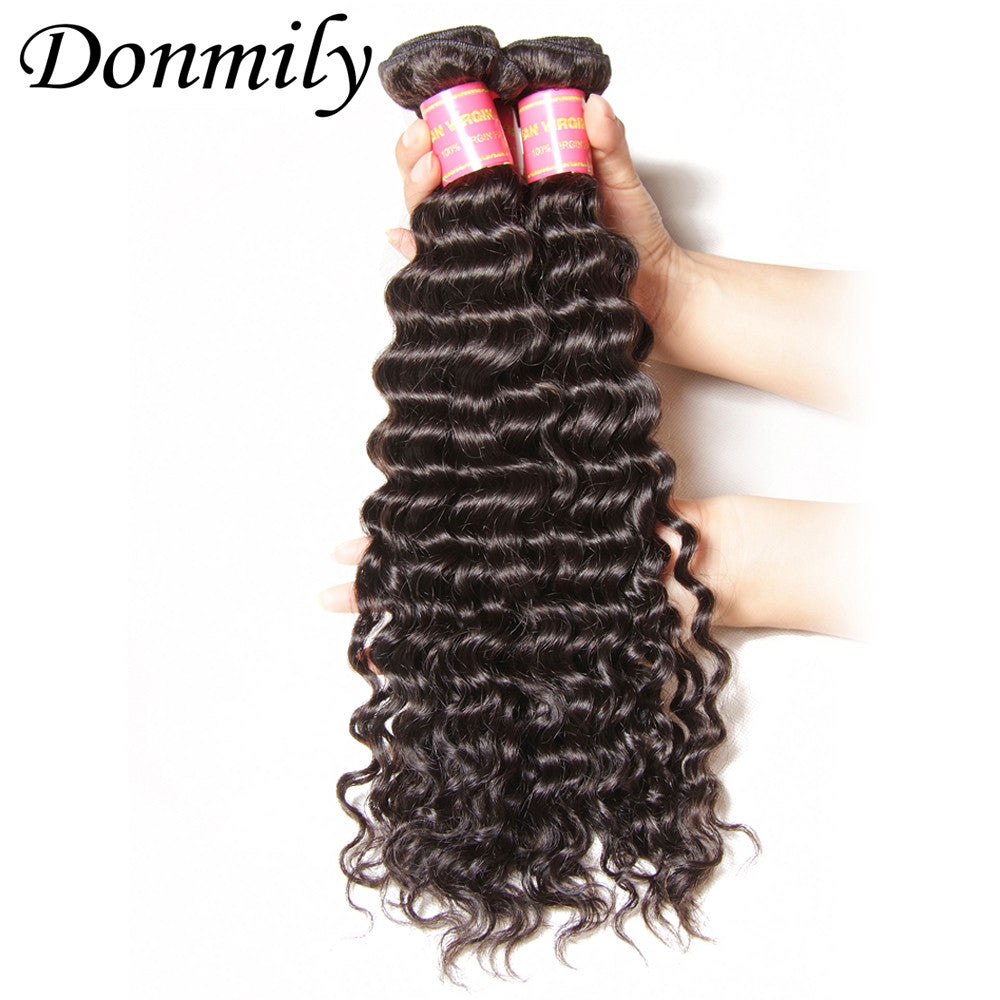 Donmily 4pcs/Lot Virgin Peruvian Deep Wave Hair Weft Human Hair Extensions