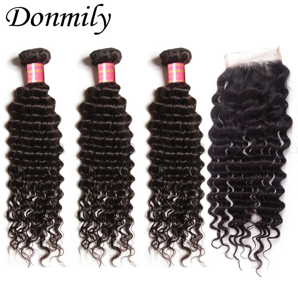 Donmily 3pcs Virgin Deep Wave Indian Hair Weave Human Bundles With Lace Closure(Free Part)