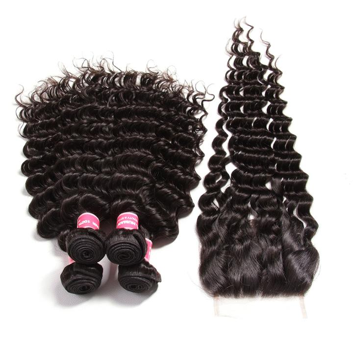 4 Bundles Malaysian Deep Wave Curly Hair with 4*4 Lace Closure-Donmily Hair