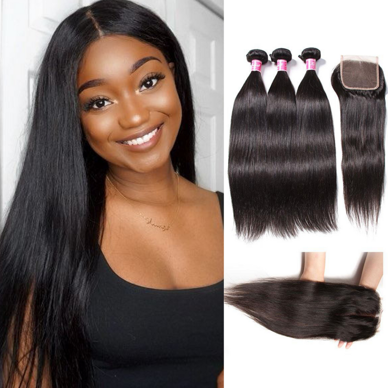 Donmily Virgin Brazilian Hair Straight 3 Bundles With Lace Closure(Free Part)