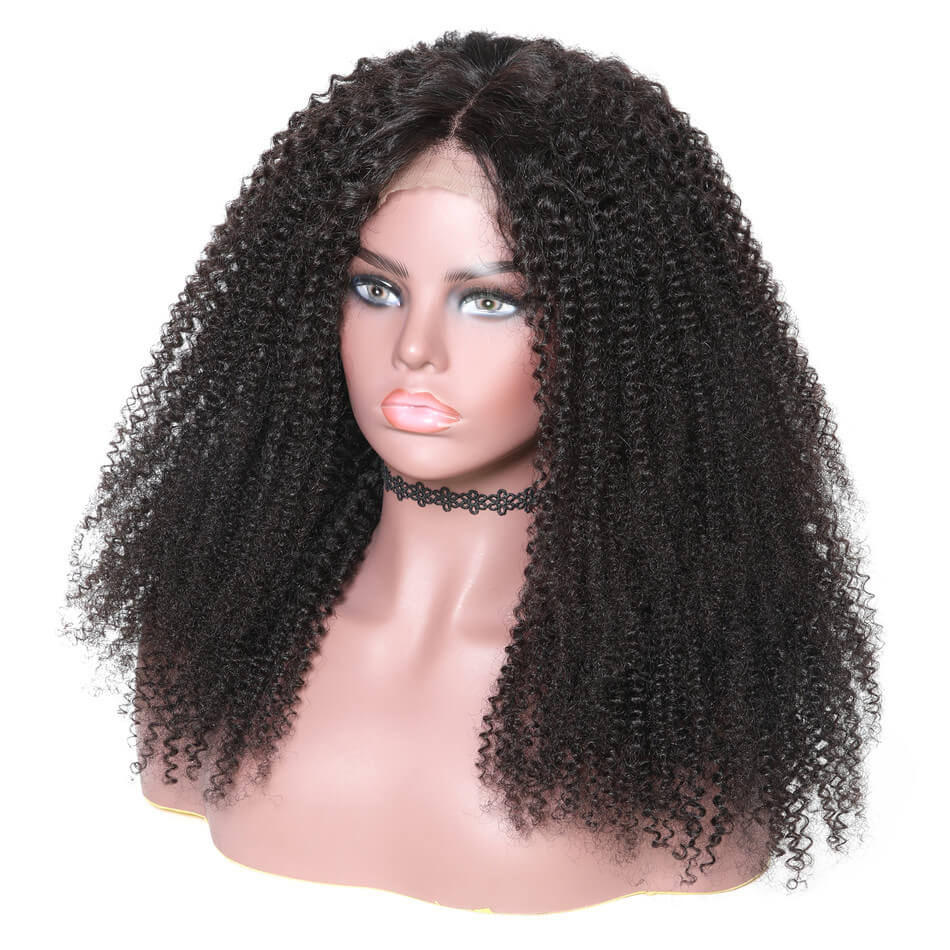 "360 Lace Wig Kinky Curl 150% & 180% Density Black Color, 100% Virgin Human Hair Wig Length 10""-24""-Donmily Hair"