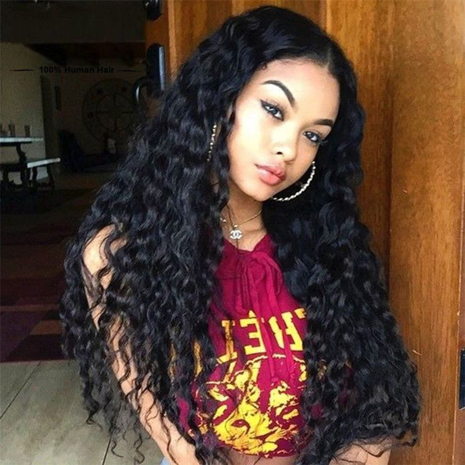 Donmily 3 Bundle Deals Virgin Natural Wave Peruvian Hair Weave With Lace Closure(Free Part)