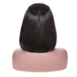 Donmily 13*6 Lace Front Straight Bob Wigs 150% Density Black Color, 100% Virgin Human Hair